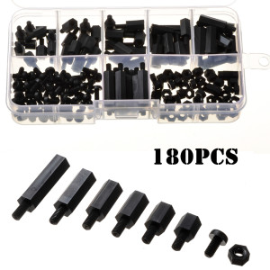 180pcs-set-m3-nylon-black-hex-screws-nuts-kit-comp-roboromania